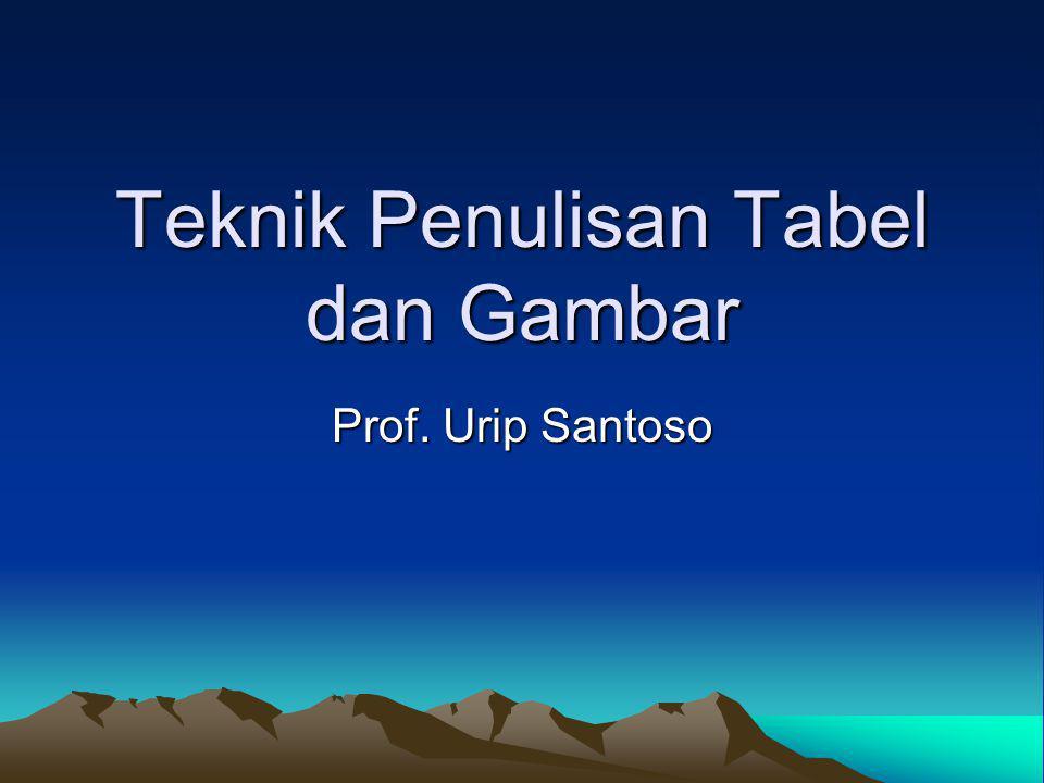 Teknik Penulisan Tabel dan Gambar Prof. Urip Santoso