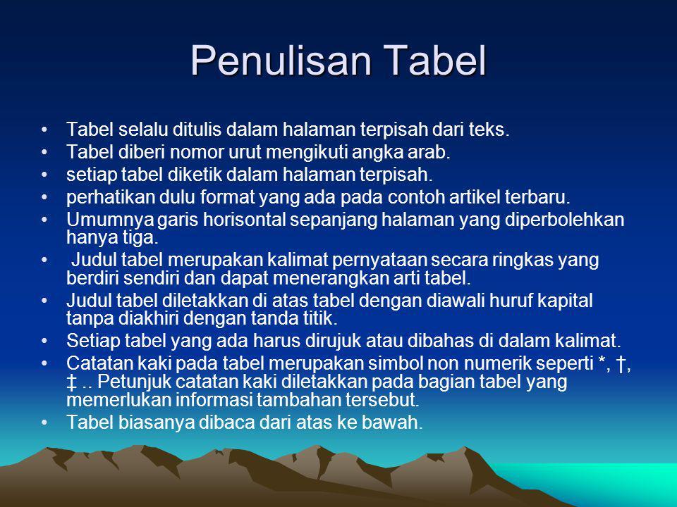 Penulisan Tabel Tabel selalu ditulis dalam halaman terpisah dari teks.