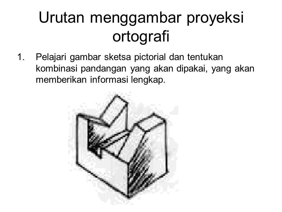 Urutan menggambar proyeksi ortografi 1. Pelajari gambar sketsa pictorial dan tentukan kombinasi pandangan yang akan dipakai, yang akan memberikan info