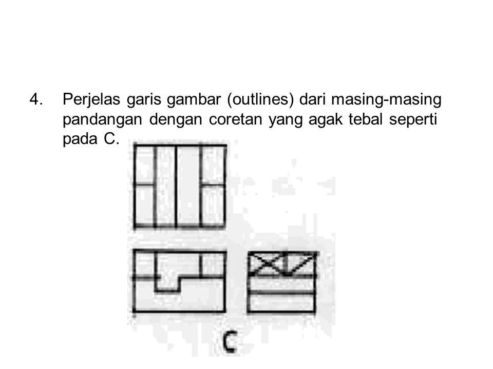 4.Perjelas garis gambar (outlines) dari masing-masing pandangan dengan coretan yang agak tebal seperti pada C.
