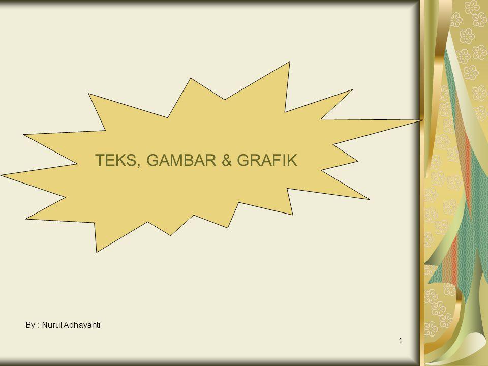 1 TEKS, GAMBAR & GRAFIK By : Nurul Adhayanti