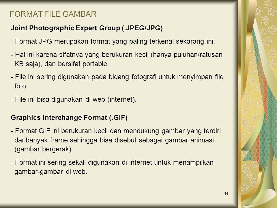 14 FORMAT FILE GAMBAR Joint Photographic Expert Group (.JPEG/JPG) - Format JPG merupakan format yang paling terkenal sekarang ini. - Hal ini karena si