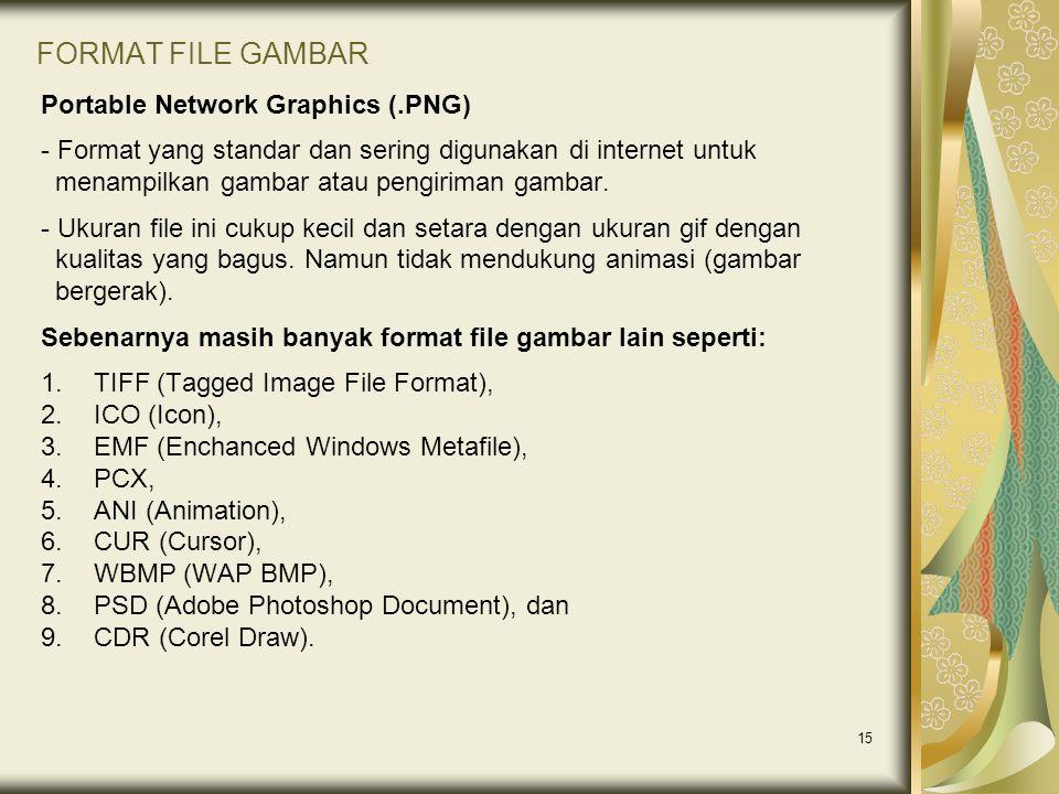 15 FORMAT FILE GAMBAR Portable Network Graphics (.PNG) - Format yang standar dan sering digunakan di internet untuk menampilkan gambar atau pengiriman gambar.