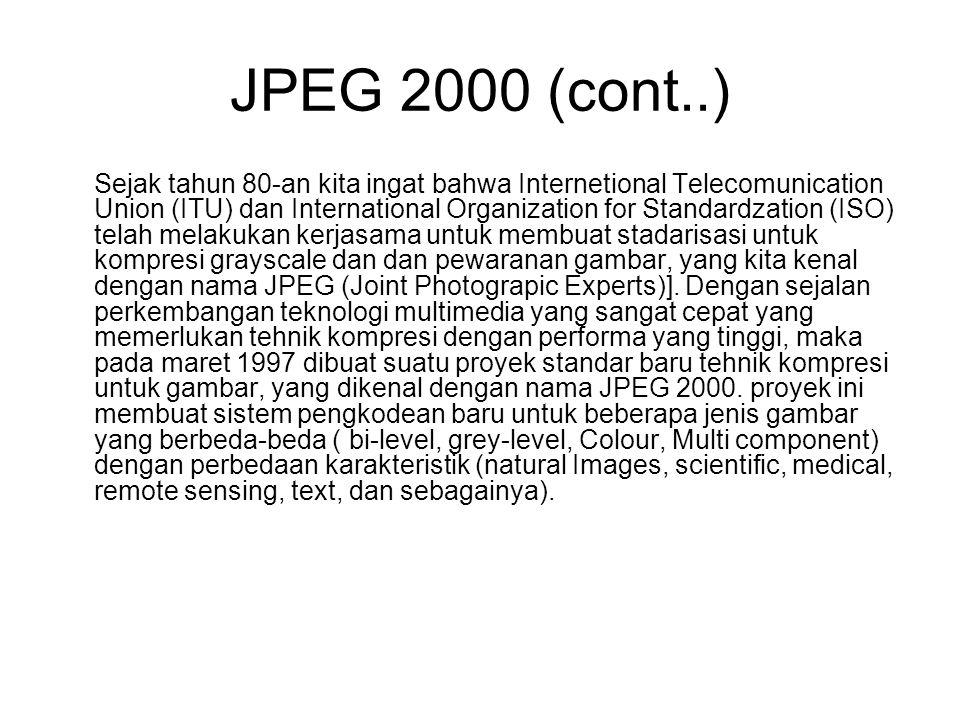 JPEG 2000 (cont..) Sejak tahun 80-an kita ingat bahwa Internetional Telecomunication Union (ITU) dan International Organization for Standardzation (IS