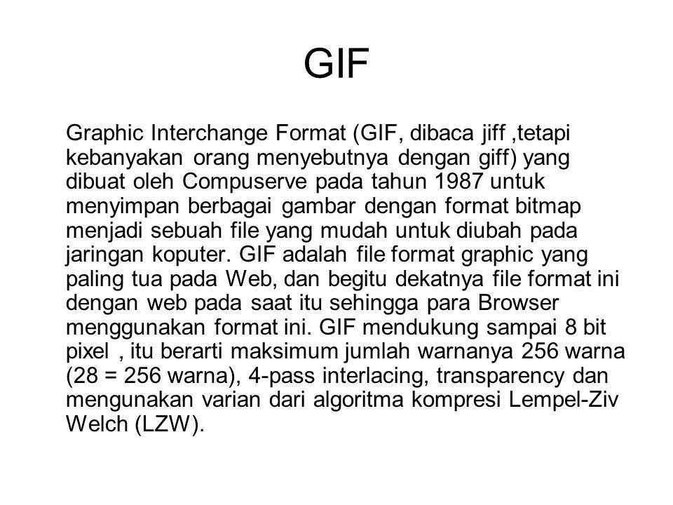GIF Graphic Interchange Format (GIF, dibaca jiff,tetapi kebanyakan orang menyebutnya dengan giff) yang dibuat oleh Compuserve pada tahun 1987 untuk me