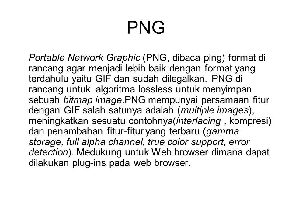 PNG (cont..) PNG menggunakan Metode kompresi Deflate, digunakan pada popular file archiving utility( pkzip).