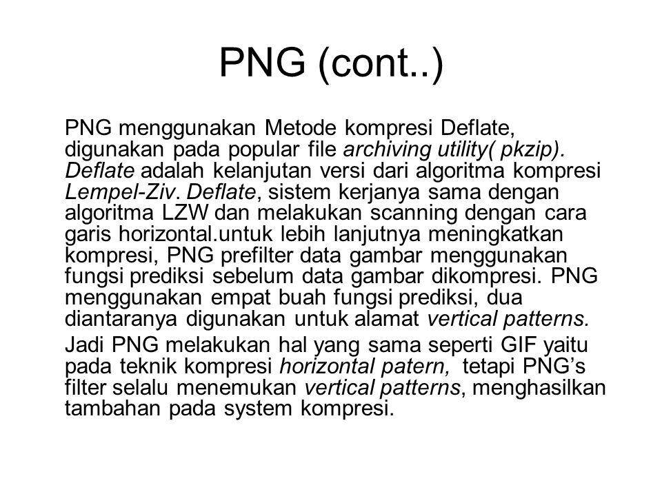PNG (cont..) PNG menggunakan Metode kompresi Deflate, digunakan pada popular file archiving utility( pkzip). Deflate adalah kelanjutan versi dari algo