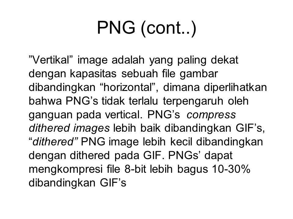 """PNG (cont..) """"Vertikal"""" image adalah yang paling dekat dengan kapasitas sebuah file gambar dibandingkan """"horizontal"""", dimana diperlihatkan bahwa PNG's"""