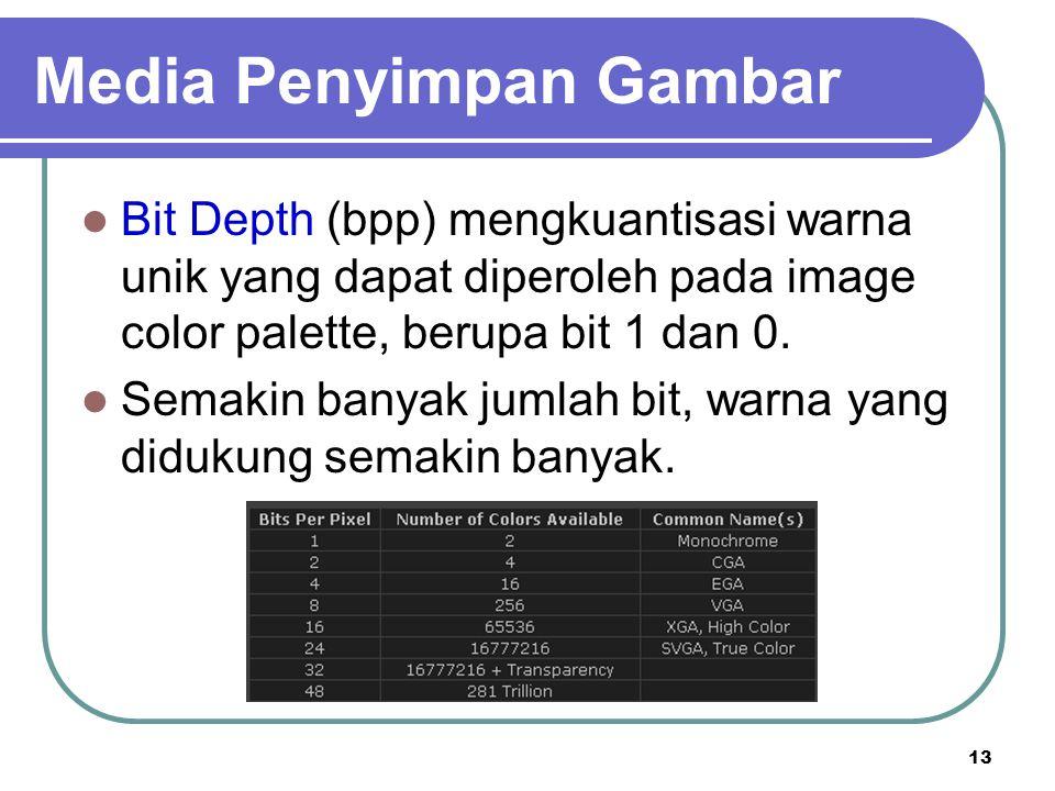 13 Bit Depth (bpp) mengkuantisasi warna unik yang dapat diperoleh pada image color palette, berupa bit 1 dan 0. Semakin banyak jumlah bit, warna yang