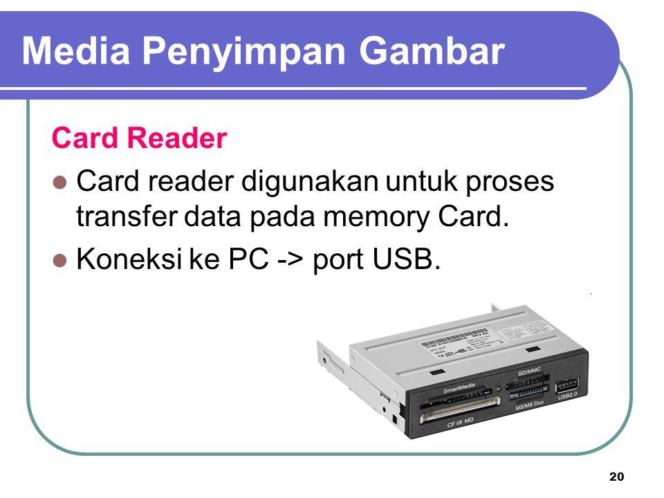 20 Card Reader Card reader digunakan untuk proses transfer data pada memory Card. Koneksi ke PC -> port USB. Media Penyimpan Gambar