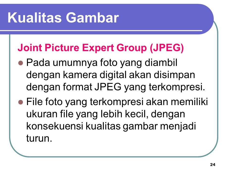24 Joint Picture Expert Group (JPEG) Pada umumnya foto yang diambil dengan kamera digital akan disimpan dengan format JPEG yang terkompresi. File foto