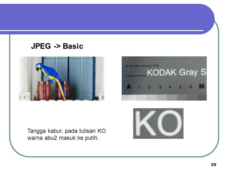 29 JPEG -> Basic Tangga kabur, pada tulisan KO warna abu2 masuk ke putih.