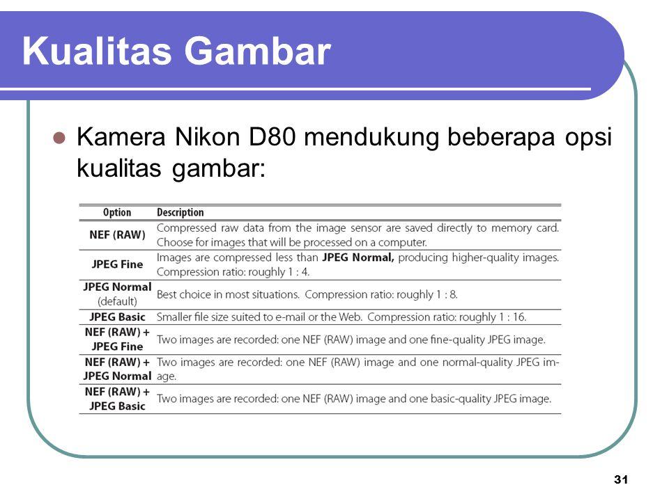 31 Kamera Nikon D80 mendukung beberapa opsi kualitas gambar: Kualitas Gambar