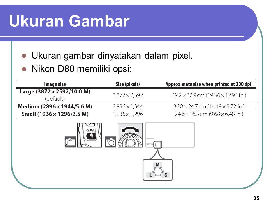 35 Ukuran Gambar Ukuran gambar dinyatakan dalam pixel. Nikon D80 memiliki opsi: