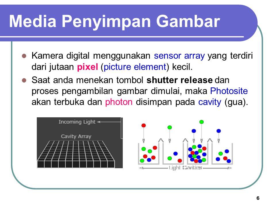 6 Kamera digital menggunakan sensor array yang terdiri dari jutaan pixel (picture element) kecil. Saat anda menekan tombol shutter release dan proses