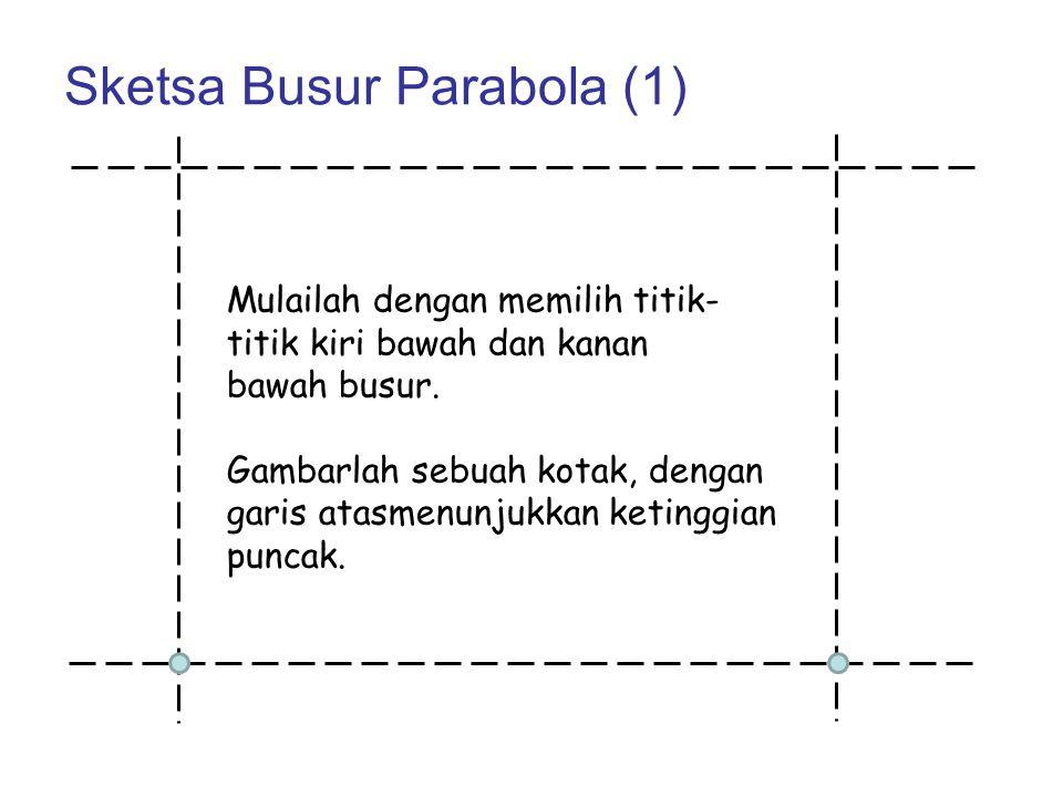 Sketsa Busur Parabola (1) Mulailah dengan memilih titik- titik kiri bawah dan kanan bawah busur. Gambarlah sebuah kotak, dengan garis atasmenunjukkan