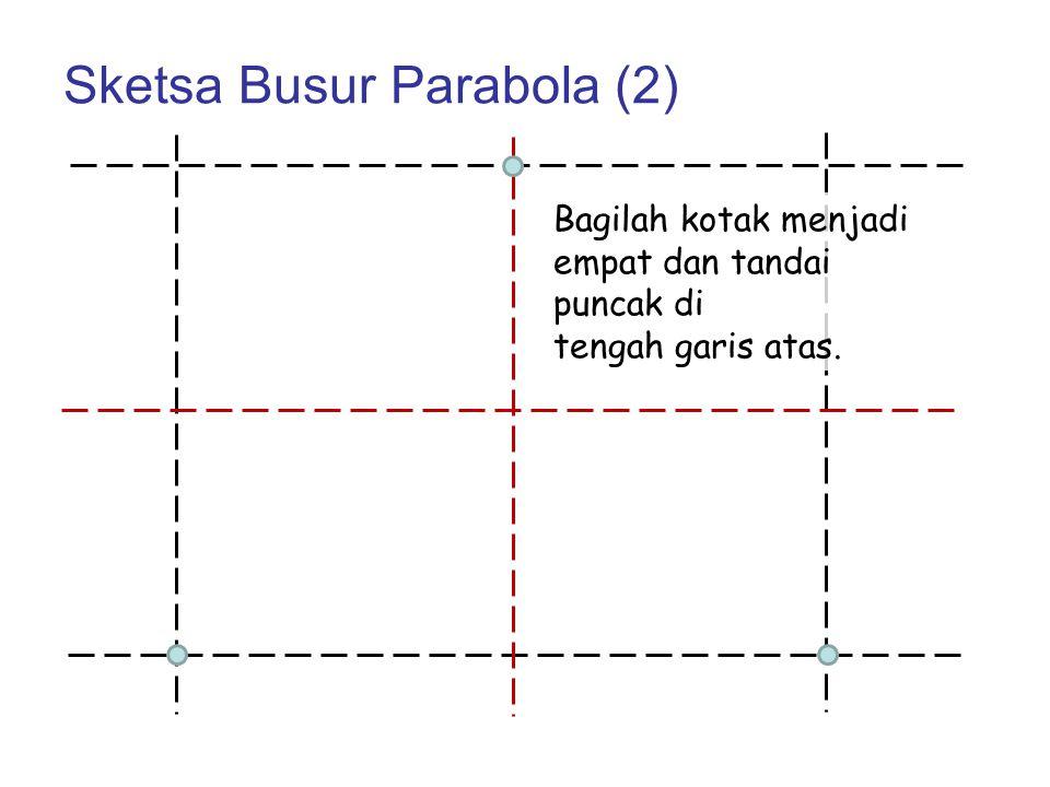 Sketsa Busur Parabola (2) Bagilah kotak menjadi empat dan tandai puncak di tengah garis atas.