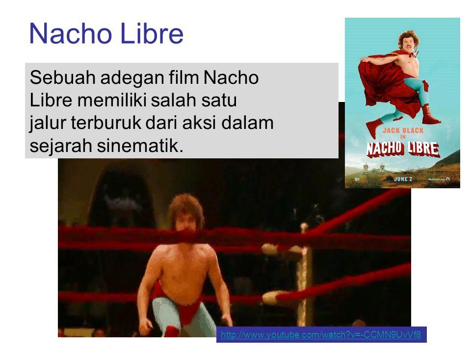 Nacho Libre Sebuah adegan film Nacho Libre memiliki salah satu jalur terburuk dari aksi dalam sejarah sinematik. http://www.youtube.com/watch?v=-CCMN9