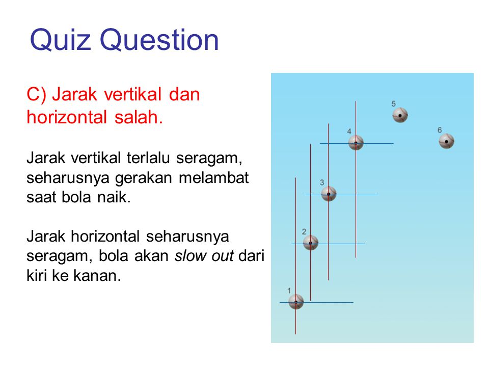 Quiz Question C) Jarak vertikal dan horizontal salah. Jarak vertikal terlalu seragam, seharusnya gerakan melambat saat bola naik. Jarak horizontal seh