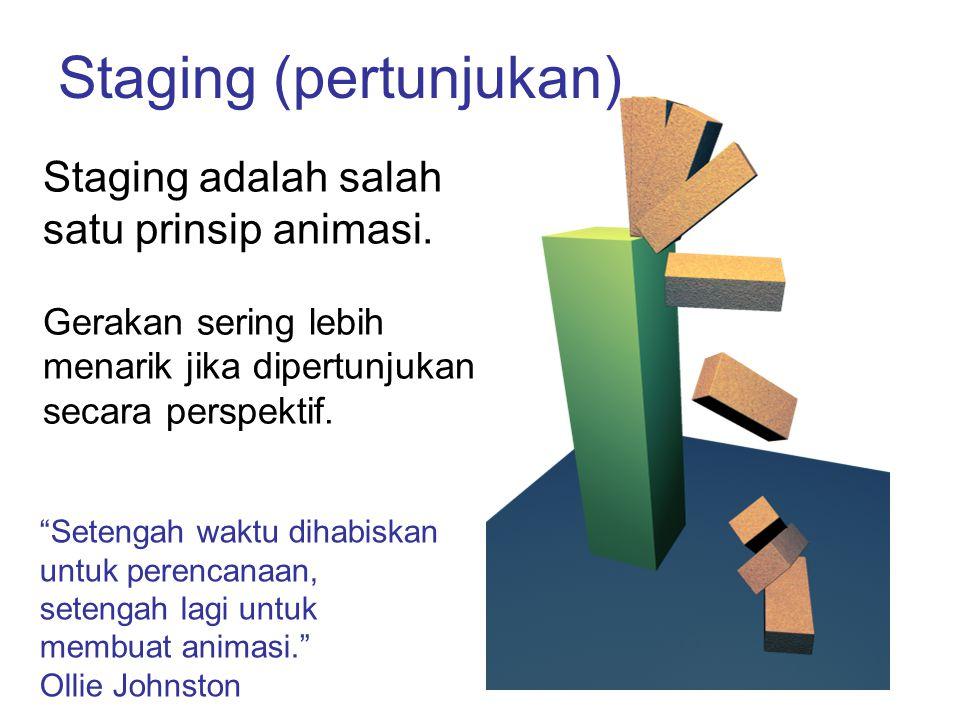 """Staging (pertunjukan) Staging adalah salah satu prinsip animasi. Gerakan sering lebih menarik jika dipertunjukan secara perspektif. """"Setengah waktu di"""