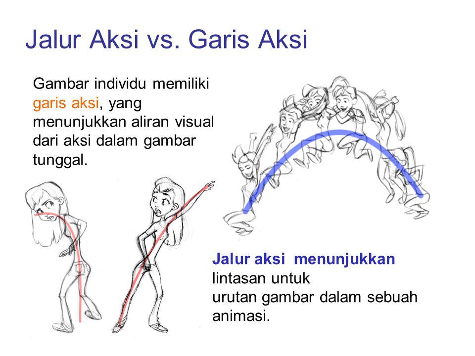 Jalur Aksi vs. Garis Aksi Jalur aksi menunjukkan lintasan untuk urutan gambar dalam sebuah animasi. Gambar individu memiliki garis aksi, yang menunjuk