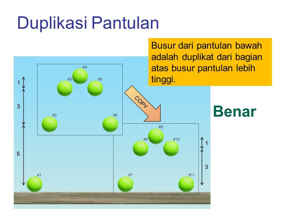 Duplikasi Pantulan Busur dari pantulan bawah adalah duplikat dari bagian atas busur pantulan lebih tinggi. Benar