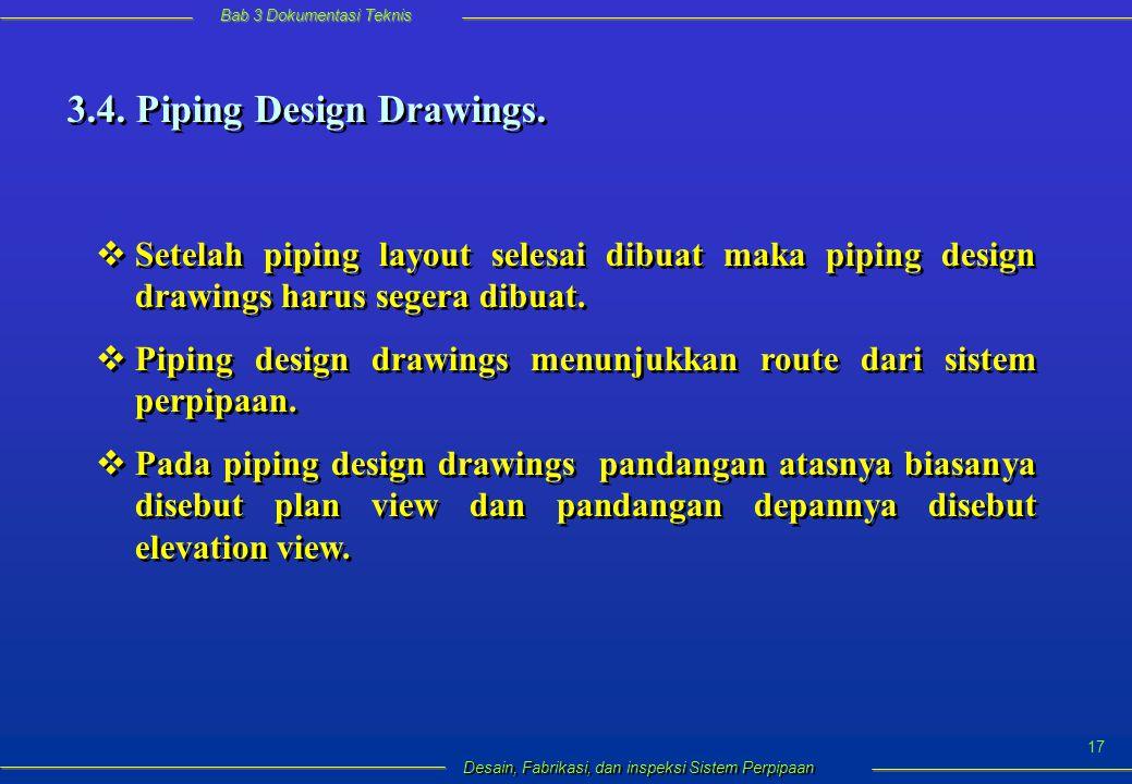 Bab 3 Dokumentasi Teknis Desain, Fabrikasi, dan inspeksi Sistem Perpipaan 17 3.4.