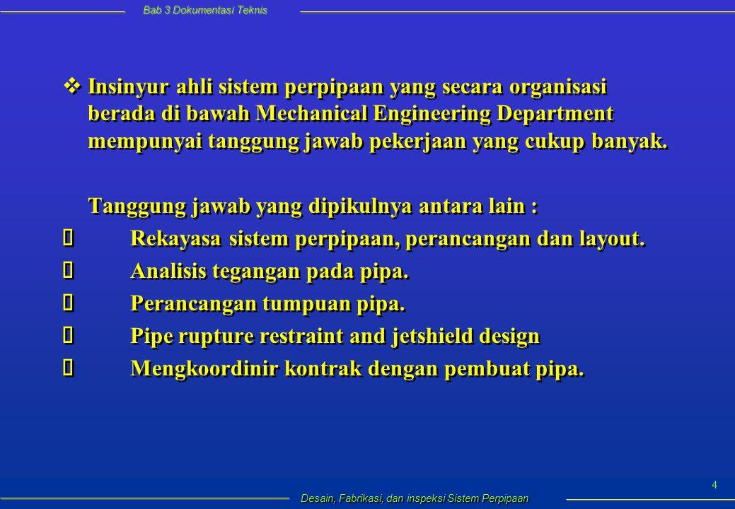 Bab 3 Dokumentasi Teknis Desain, Fabrikasi, dan inspeksi Sistem Perpipaan 25 Gambar 3.11.