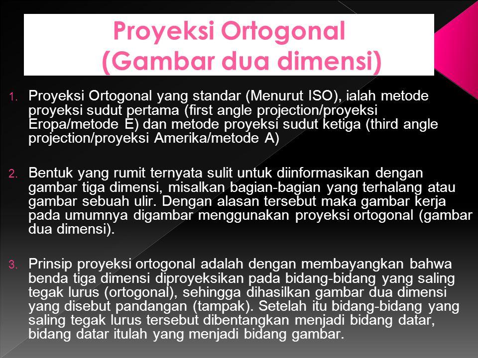 Proyeksi Ortogonal (Gambar dua dimensi) 1. Proyeksi Ortogonal yang standar (Menurut ISO), ialah metode proyeksi sudut pertama (first angle projection/