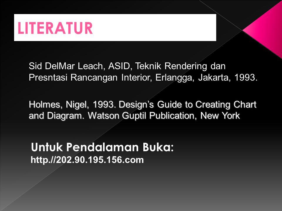 LITERATUR Untuk Pendalaman Buka: http.//202.90.195.156.com Sid DelMar Leach, ASID, Teknik Rendering dan Presntasi Rancangan Interior, Erlangga, Jakart