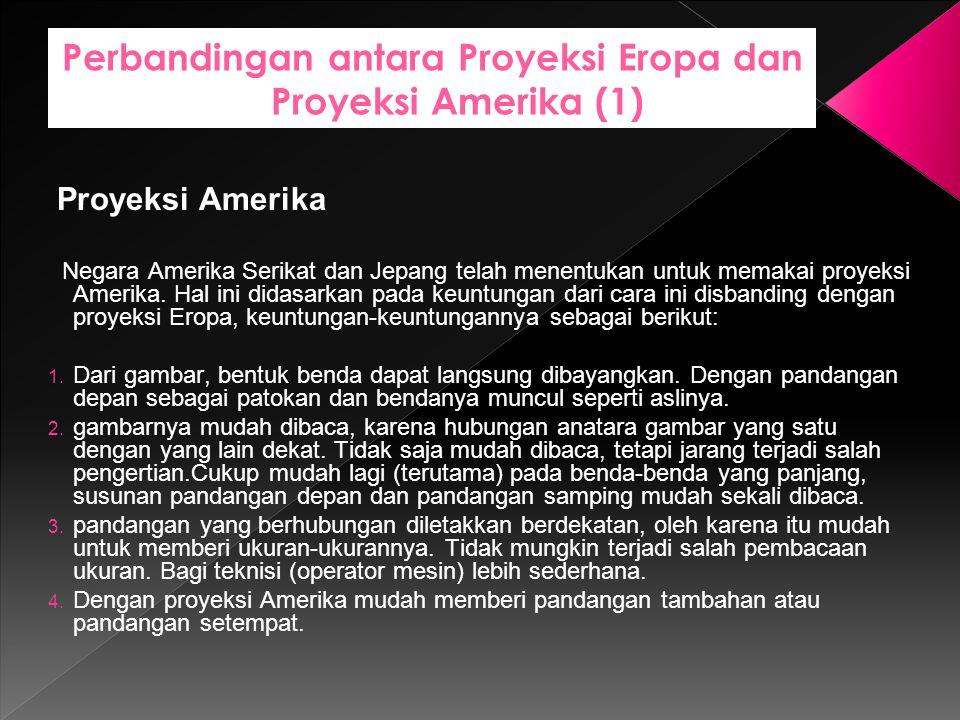 Perbandingan antara Proyeksi Eropa dan Proyeksi Amerika (1) Proyeksi Amerika Negara Amerika Serikat dan Jepang telah menentukan untuk memakai proyeksi