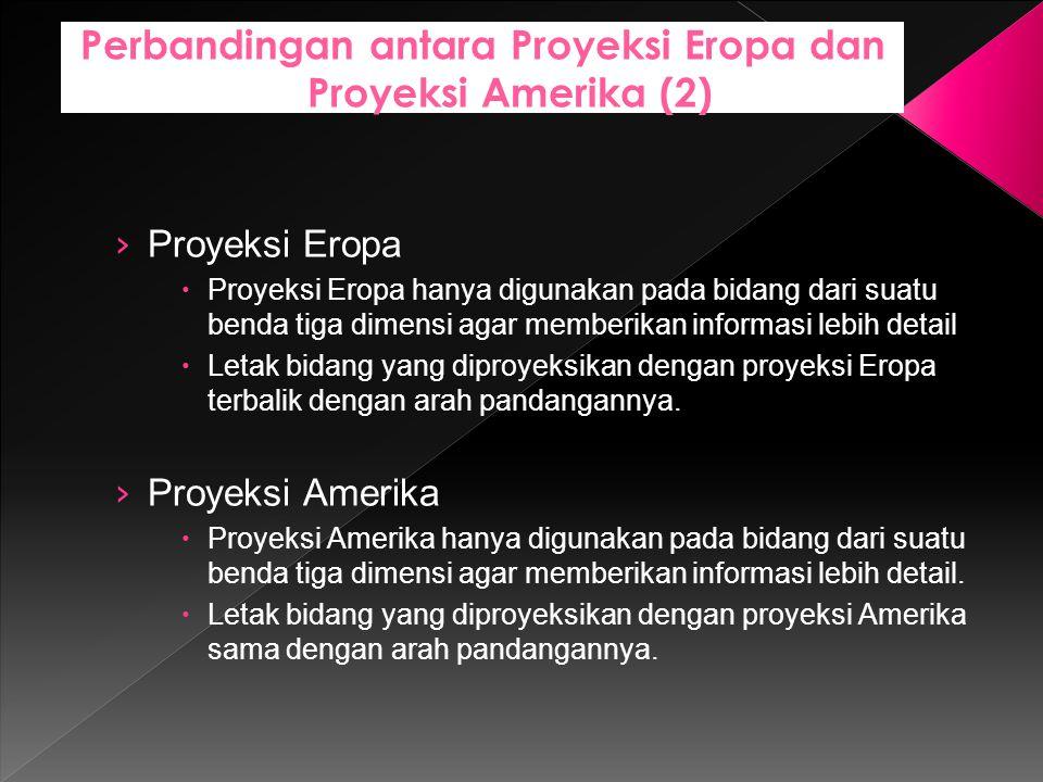 › Proyeksi Eropa  Proyeksi Eropa hanya digunakan pada bidang dari suatu benda tiga dimensi agar memberikan informasi lebih detail  Letak bidang yang
