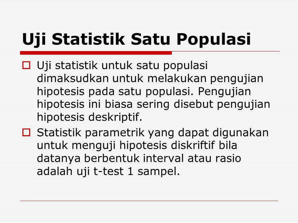 Uji Statistik Satu Populasi  Uji statistik untuk satu populasi dimaksudkan untuk melakukan pengujian hipotesis pada satu populasi. Pengujian hipotesi