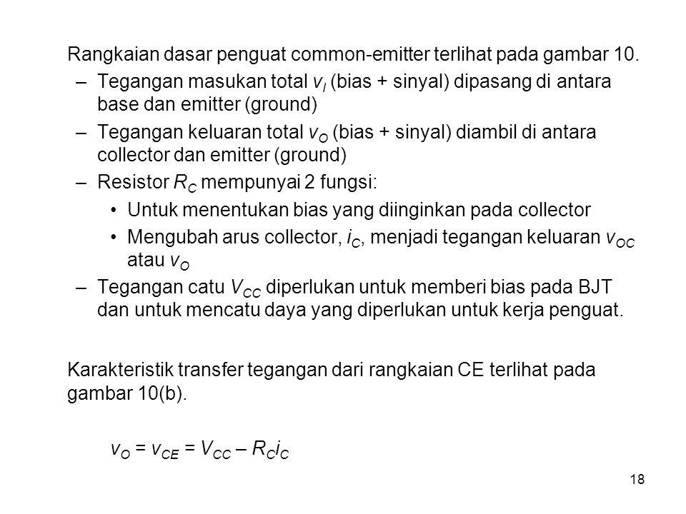 18 Rangkaian dasar penguat common-emitter terlihat pada gambar 10.