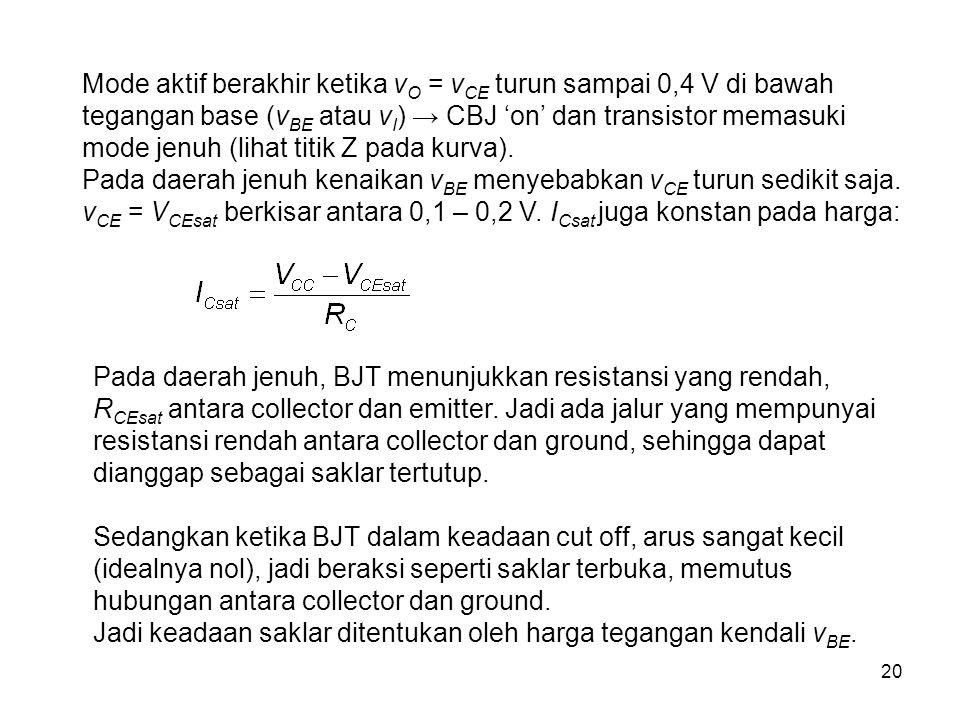 20 Mode aktif berakhir ketika v O = v CE turun sampai 0,4 V di bawah tegangan base (v BE atau v I ) → CBJ 'on' dan transistor memasuki mode jenuh (lih