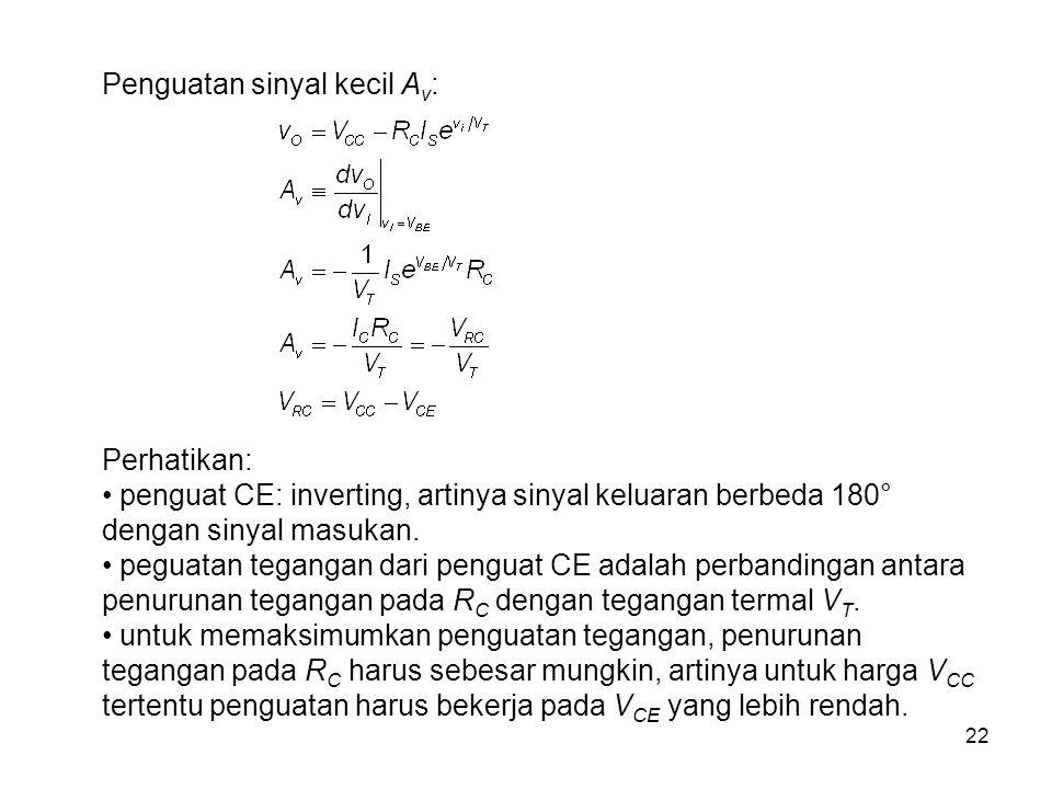 22 Penguatan sinyal kecil A v : Perhatikan: penguat CE: inverting, artinya sinyal keluaran berbeda 180° dengan sinyal masukan.
