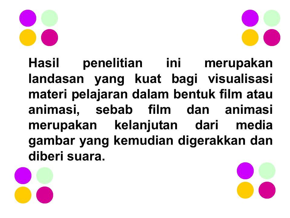 Hasil penelitian ini merupakan landasan yang kuat bagi visualisasi materi pelajaran dalam bentuk film atau animasi, sebab film dan animasi merupakan k