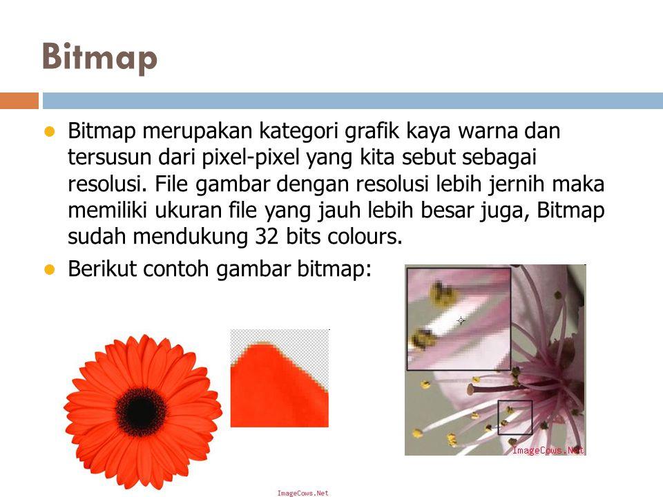 Bitmap Bitmap merupakan kategori grafik kaya warna dan tersusun dari pixel-pixel yang kita sebut sebagai resolusi.
