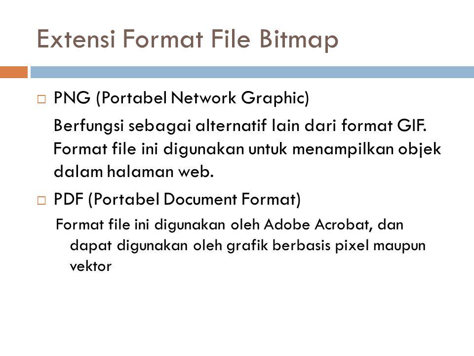  PNG (Portabel Network Graphic) Berfungsi sebagai alternatif lain dari format GIF.