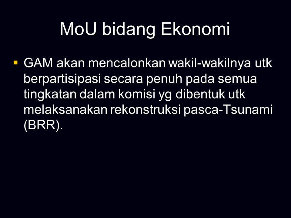 MoU bidang Ekonomi  Pemerintah RI bertekad utk menciptakan transparansi dalam pengumpulan dan pengalokasian pendapatan antara Pemerintah Pusat dan Aceh dgn menyetujui auditor luar melakukan verifikasi atas kegiatan tersebut dan menyampaikan hasil- hasilnya kepada Kepala Pemerintah Aceh