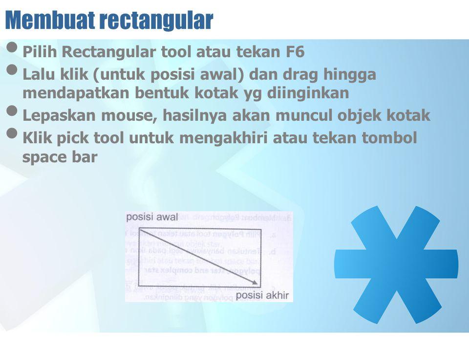 Membuat rectangular Pilih Rectangular tool atau tekan F6 Lalu klik (untuk posisi awal) dan drag hingga mendapatkan bentuk kotak yg diinginkan Lepaskan