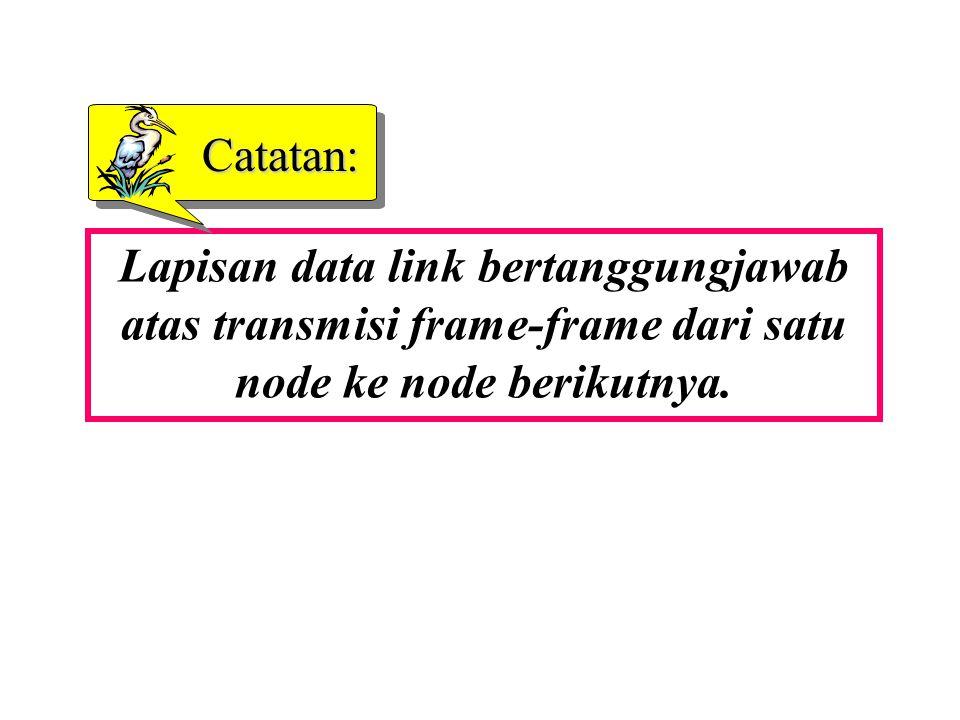 Lapisan data link bertanggungjawab atas transmisi frame-frame dari satu node ke node berikutnya. Catatan: