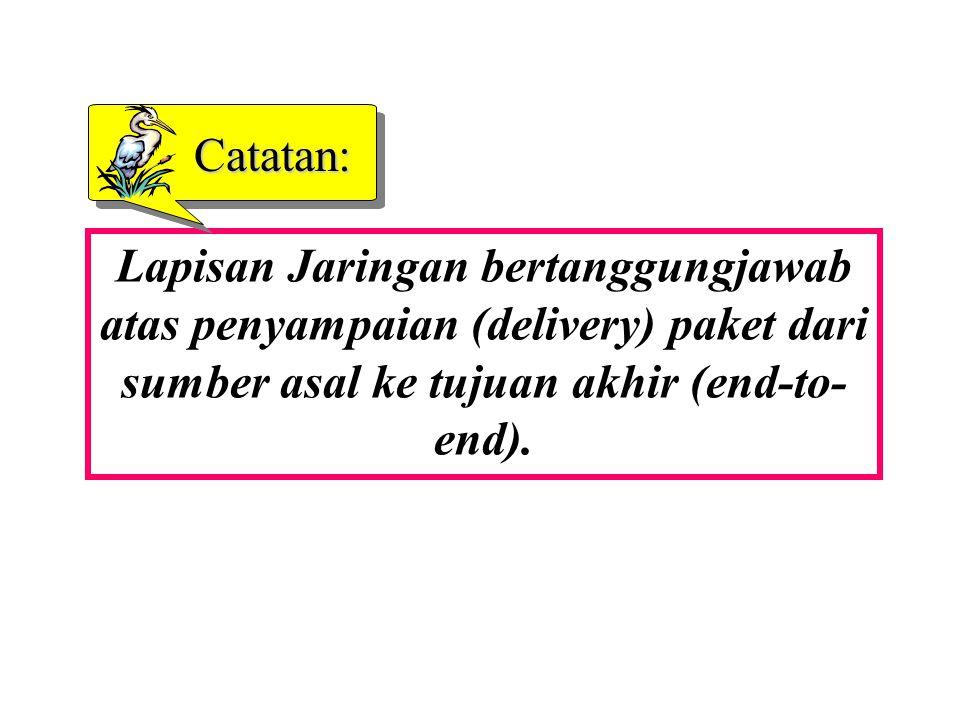 Lapisan Jaringan bertanggungjawab atas penyampaian (delivery) paket dari sumber asal ke tujuan akhir (end-to- end).