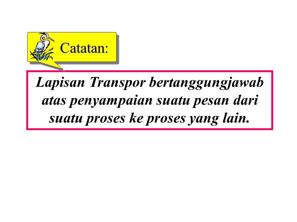 Lapisan Transpor bertanggungjawab atas penyampaian suatu pesan dari suatu proses ke proses yang lain. Catatan: