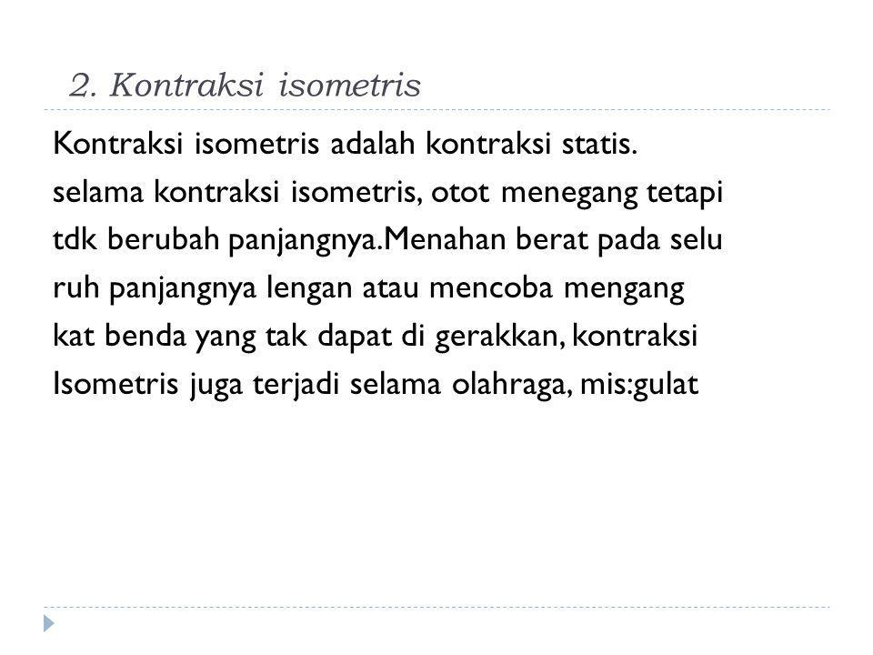2. Kontraksi isometris Kontraksi isometris adalah kontraksi statis. selama kontraksi isometris, otot menegang tetapi tdk berubah panjangnya.Menahan be