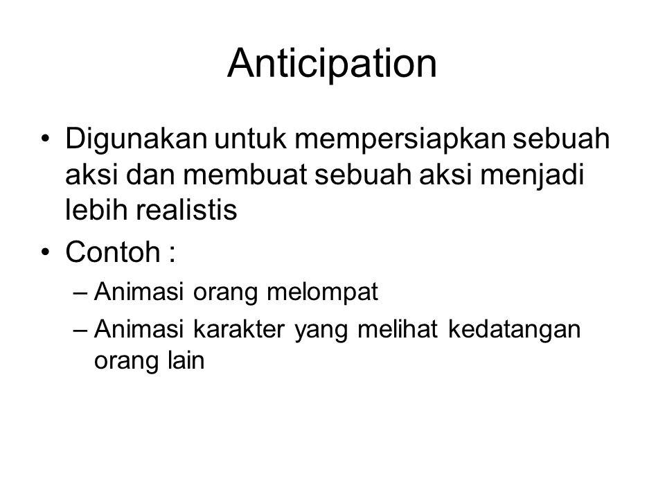 Anticipation Digunakan untuk mempersiapkan sebuah aksi dan membuat sebuah aksi menjadi lebih realistis Contoh : –Animasi orang melompat –Animasi karak