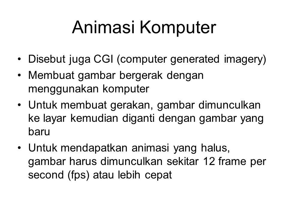 Animasi Komputer Disebut juga CGI (computer generated imagery) Membuat gambar bergerak dengan menggunakan komputer Untuk membuat gerakan, gambar dimunculkan ke layar kemudian diganti dengan gambar yang baru Untuk mendapatkan animasi yang halus, gambar harus dimunculkan sekitar 12 frame per second (fps) atau lebih cepat