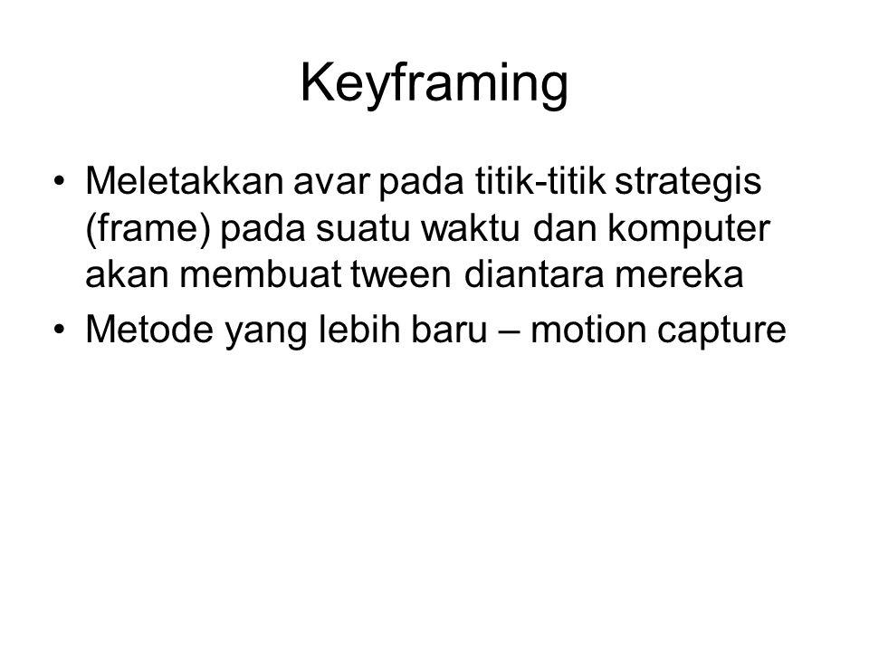 Keyframing Meletakkan avar pada titik-titik strategis (frame) pada suatu waktu dan komputer akan membuat tween diantara mereka Metode yang lebih baru – motion capture