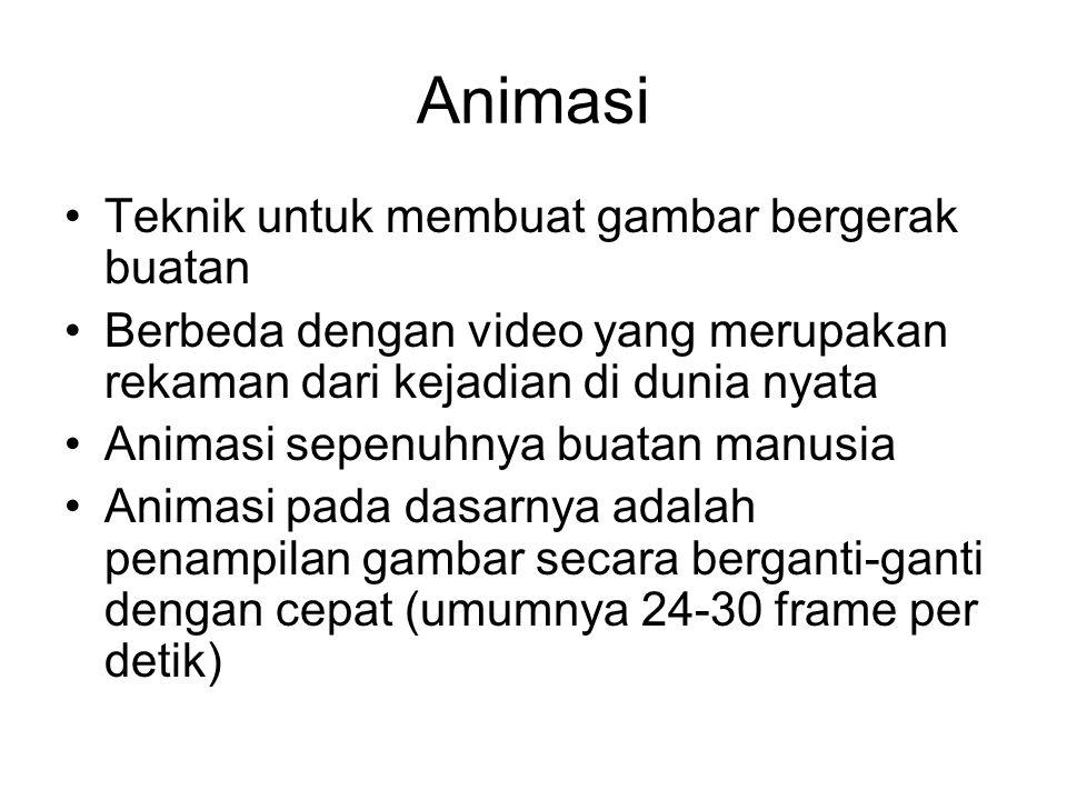Teknik untuk membuat gambar bergerak buatan Berbeda dengan video yang merupakan rekaman dari kejadian di dunia nyata Animasi sepenuhnya buatan manusia Animasi pada dasarnya adalah penampilan gambar secara berganti-ganti dengan cepat (umumnya 24-30 frame per detik)