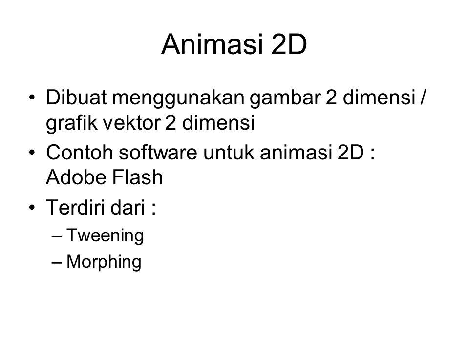 Animasi 2D Dibuat menggunakan gambar 2 dimensi / grafik vektor 2 dimensi Contoh software untuk animasi 2D : Adobe Flash Terdiri dari : –Tweening –Morphing